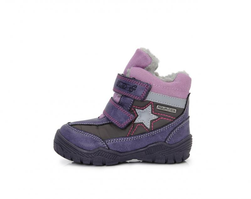 3a762e4a7240 D.D.step fialovo sivé dievčenské VODEODOĽNÉ THERMO kožušinové vysoké detské  topánky na suchý zips 24-